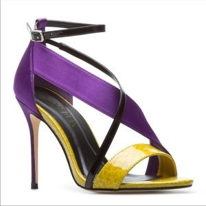 Paper Fox Dejah Purple Open Toe Ankle High Heels